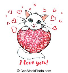 Greeting card with cute cat holding heart.