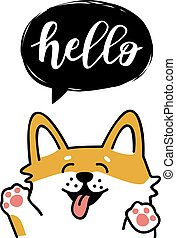Greeting card with cute dog.