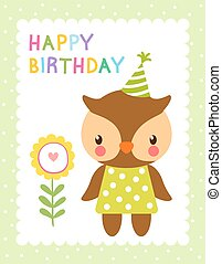 Greeting card with cute owl.