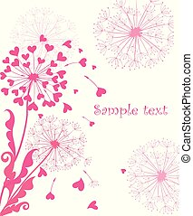 Greeting card with cute pink dandelions for wedding, ...