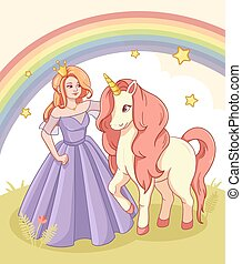 Greeting Card with Cute Princess and Unicorn.