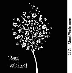 Greeting card with cute tree