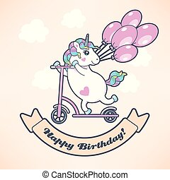 Greeting card with cute unicorn and balloons