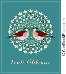 Greeting Card with Czech Text Vesele Velikonoce, in English Happy Easter. Pussy Willow Branches, Green Leaves, Bees and Birds.