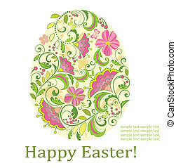 Greeting card with decorative easter egg
