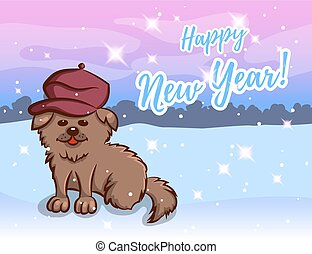 Greeting Card With Dog In Beret