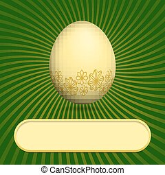 Greeting card with easter egg green