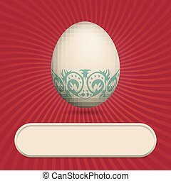 Greeting card with easter egg red