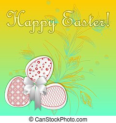 Greeting card with easter eggs