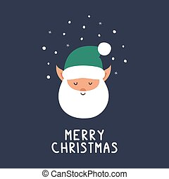 Greeting card with elf and Merry Christmas congratulation phrase.