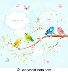 greeting card with enamored birds on branch of sakura and butter