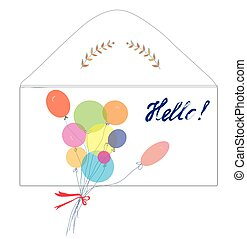 Greeting card with envelope, balloons