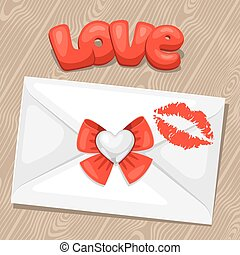 Greeting card with envelope. Concept can be used for Valentines Day, wedding or love confession message