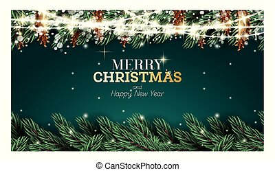 Greeting Card with Fir Branch, Neon Garland, Cones and Snowflakes on Green Background.