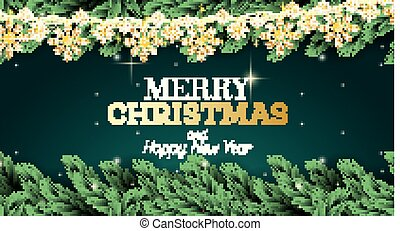 Greeting Card with Fir Branch, Neon Lights, Golden Garland with Snowflakes on Green Background.