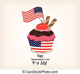 Greeting card with flag. American