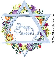 Happy Passover jewish lettering and Star of David - Greeting...