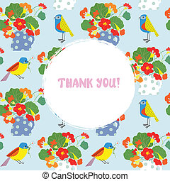 Greeting card with flowers and bird - thank you text