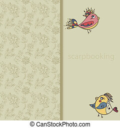 greeting card with flowers and bird