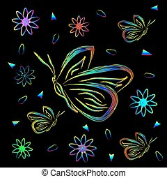 Greeting card with flowers and butterflies in neon.