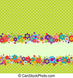 Greeting card with flowers and polkadot pattern - Greeting...