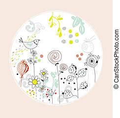 Greeting card with flowers, bird - circle design cute