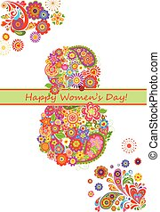 Greeting card with flowers bouquet for International Womans Day