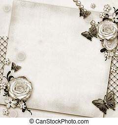 greeting card with flowers, butterfly on paper vintage background