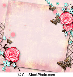 greeting card with flowers, butterfly on pink paper vintage background