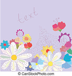 Greeting card with flowers cute design
