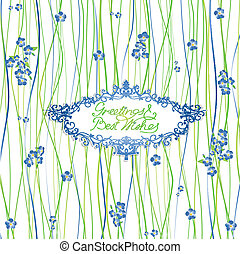 Greeting Card With Forget Me Not Flowers and Green...