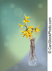 Greeting card with forsythia flower