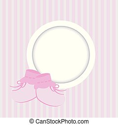 Greeting card with frame and baby shoes for a girl