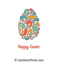 Greeting card with full color doodle easter egg-3
