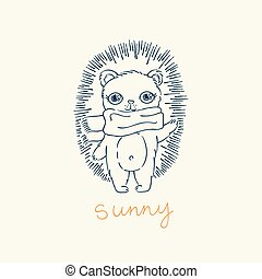 Greeting card with funny cartoon hedgehog in scarf.