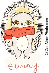 Greeting card with funny cartoon hedgehog in scarf.