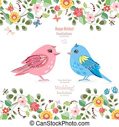 greeting card  with funny couple of birds for your design