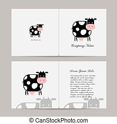 Greeting card with funny cow