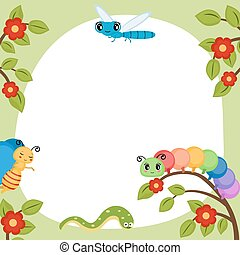 Greeting card with funny insects.