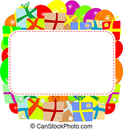 Greeting card with gift box and copy space. vector