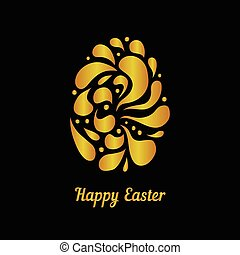 Greeting card with golden easter egg-4