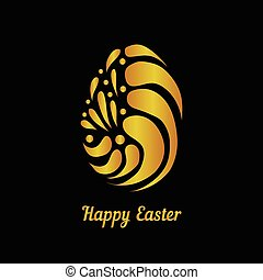 Greeting card with golden easter egg-5