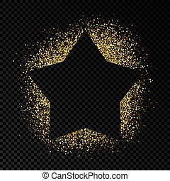 Greeting card with golden glitter background