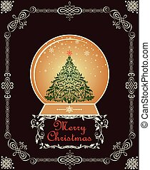 Greeting card with golden globe with Christmas tree