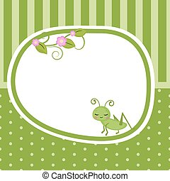 Greeting card with grasshopper.