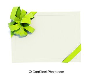 Greeting card with green bow isolated on white