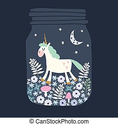 Greeting card with hand drawn magic sleeping unicorn in glass jar. Party invitation with flowers, moon and stars. Vector illustration background.