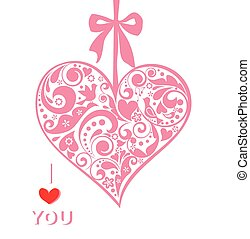 Greeting card with hanging heart