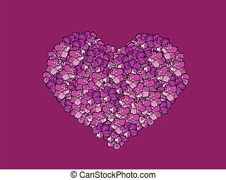 Greeting card with heart from flowers