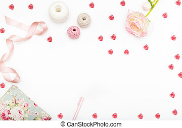 Greeting card with hearts and a flower on a white background. Copy sapce